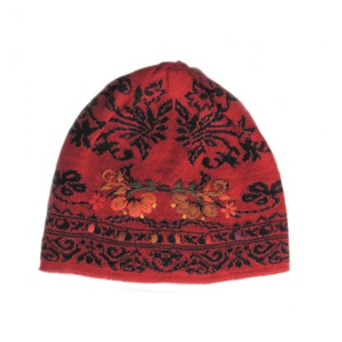 Women's beanie / hat red - black jacquard knitted reversible with embroided flower details, alpaca blend
