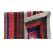 Peruvian frazada, handwoven woolen blanket, rug, frazada with colorful stripes