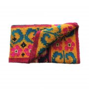 Peruvian frazada, handwoven woolen blanket, hand lommed  rug, frazada with colorful pattern