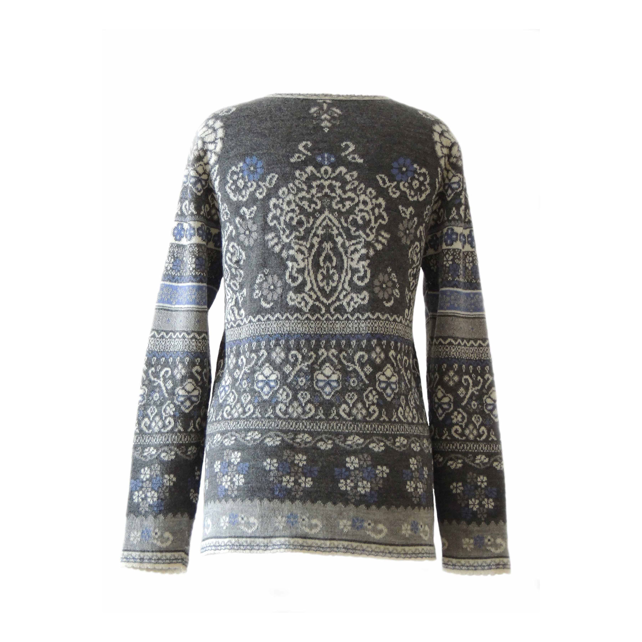 PFL Knitwear Cardigan Lucy gray creme blue with print in jacquard knit, crew neck and mother of pearl button closure, in 100% baby alpaca wool