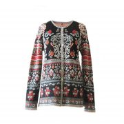 PFL knitwear Cardigan Lucy black - creme - red - orange with print in jacquard knit, crew neck and mother of pearl button closure, in 100% baby alpaca wool