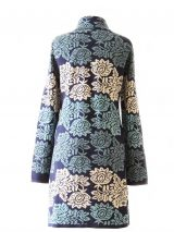 PFL knitwear Women's cardigan, coat model with jacquard knitted flower pattern in blue shades and creme. pockets on the frontside and button closure. Fine knitted in soft and wam luxury baby alpaca 100%