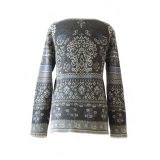 PFL Knitwear Women's pullover fine knitted with jaqcuard pattern 100% soft and warm baby alpaca with crew neck and long sleeves. gray - creme - blue