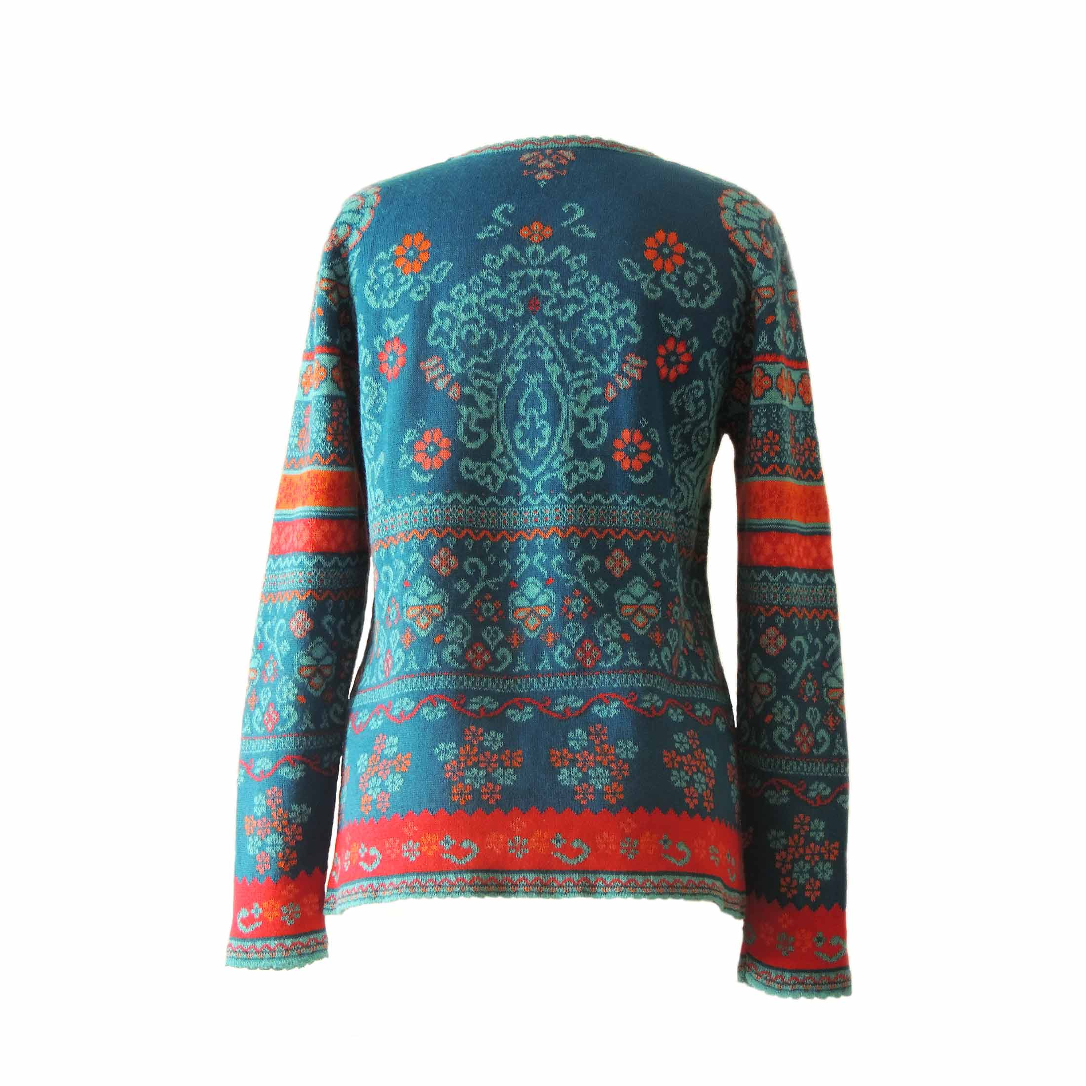 PopsPlaza.com Women's pullover fine knitted with jaqcuard pattern 100% soft and warm baby alpaca with crew neck and long sleeves. Blue multi