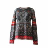 PopsPlaza.com Women's pullover fine knitted with jaqcuard pattern 100% soft and warm baby alpaca with crew neck and long sleeves. gray-red-orange