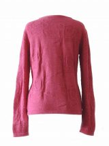 PFL knitwear Ladies knitted pullover / sweater with relief flower pattern, and cut outs on the sleeves, pink Made of soft and warm baby alpaca 100%