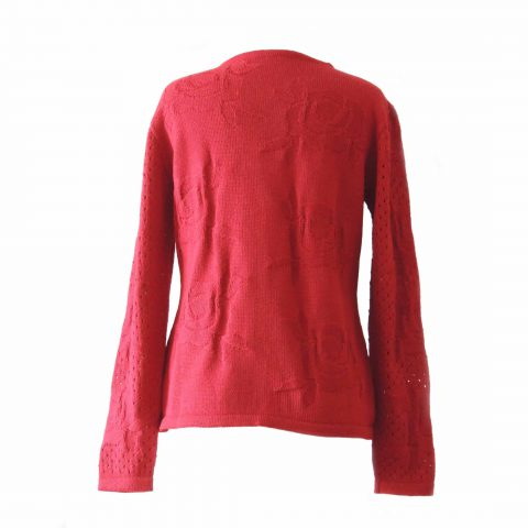 PFL knitwear Ladies knitted pullover / sweater with relief flower pattern, and cut outs on the sleeves, red Made of soft and warm alpaca 100%