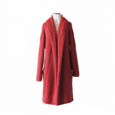 PFL Knitwear Capote Coat, cardigan hand knitted oversized hooded open sweater coat in super warm felted alpaca, red