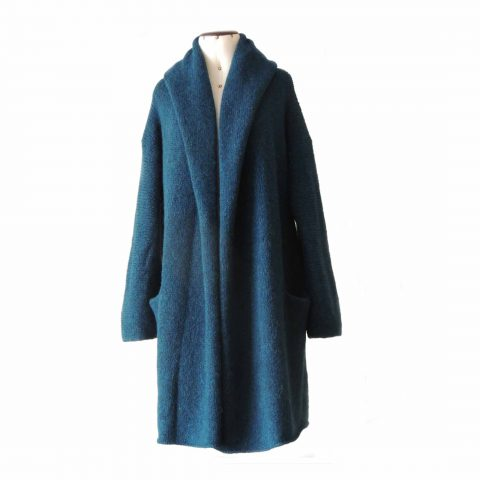 PFL Knitwear Capote Coat, cardigan hand knitted oversized hooded open sweater coat in super warm felted alpaca,