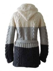 PFL knitwear Hand knitted hooded cardigan 3 colors, creme, gray and dark gray, with zip closure, pockets and belt in the same material.