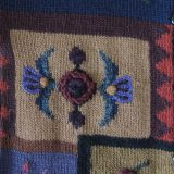 PFL knitwear Womens cardigan alpaca blend color blocking intarsia with hand embroided flowers,