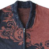 PFL Knitwear Ladies cardigan / coat jacquard knitted with flower pattern brown - black, alpaca blend zipper closure and V-neck alpaca blend.