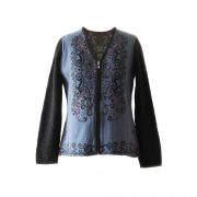 PFL knitwear Women's cardigan alpaca blend, Jacquard knitted pattern black on steel blue background and alpaca boucle sleeves black