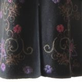 PFL KNITWEAR Ladies cardigan / coat black with hand embroidered flowers in multicolor. zipper closure and high collar alpaca blend.