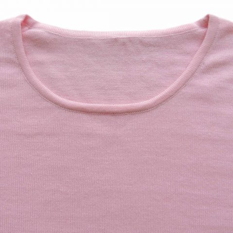 PFL knitwear Women's fine knitted basic pullover / sweater, solid color pastel pink with crew neck Made of 100% soft Peruvian pima cotton