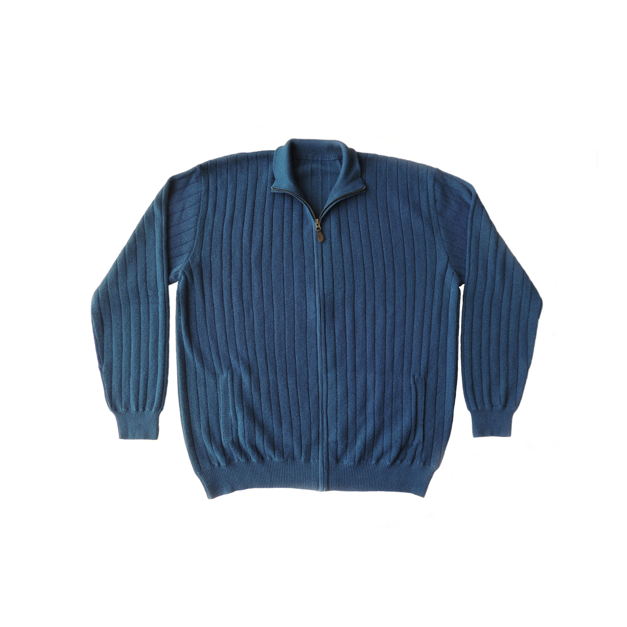 PFL Knitwear Men's cardigan / sweater with full zip long sleeves and side pockets.shapphire blue . classic fit A fantastic warm winter cardigan made of luxary natural 80% baby alpaca and 20% merino wool.