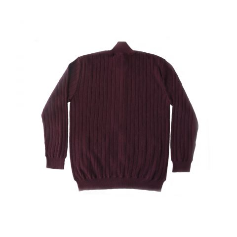 PFL Knitwear Men's cardigan / sweater with full zip long sleeves and side pockets. in burgundy, (Bordeaux Purple) classic fit