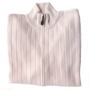 PFL knitwear Men's cardigan / sweater with full zip long sleeves and side pockets. in creme. classic fit