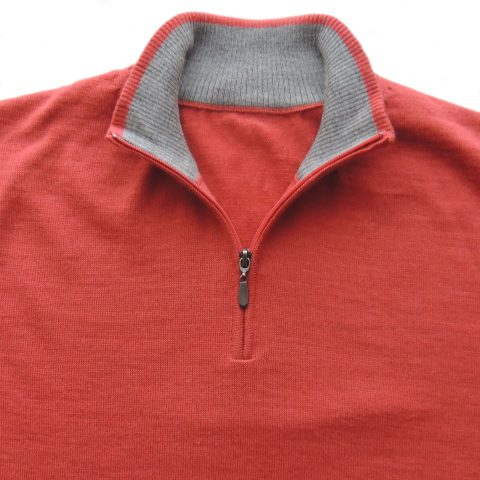 PFL Knitwear Men's sweater, Premium Royal Alpaca - Sweater red coral with half zip neck with reverse light grey trim. Long sleeves with ribbed cuffs, hem.