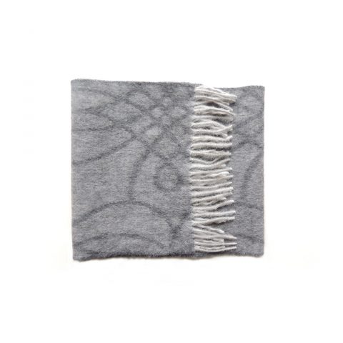PFL knitwear Scarf in gray shades 100% soft and warm baby alpaca with graphic pattern light gray fringes women's scarf, men's scarf