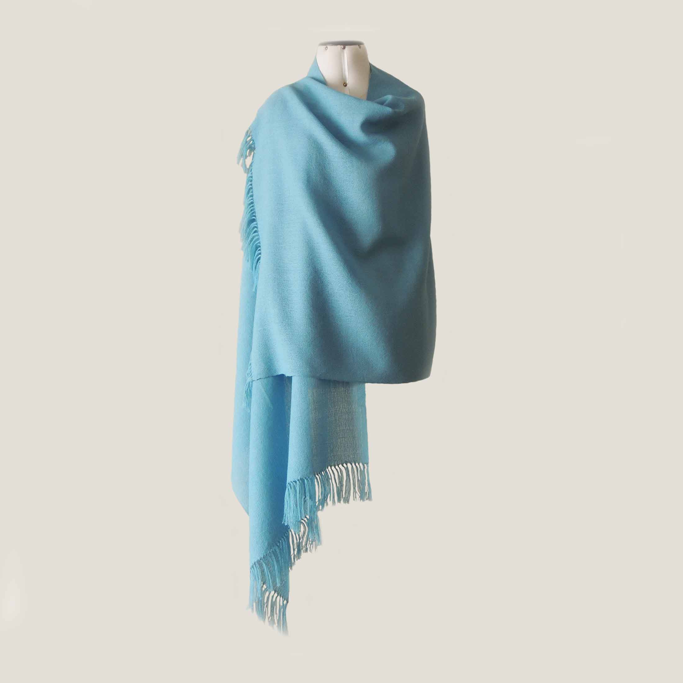 PFL knitwear Fine handwoven Shawl / Stole, in soft baby alpaca with fringes solid color light blue