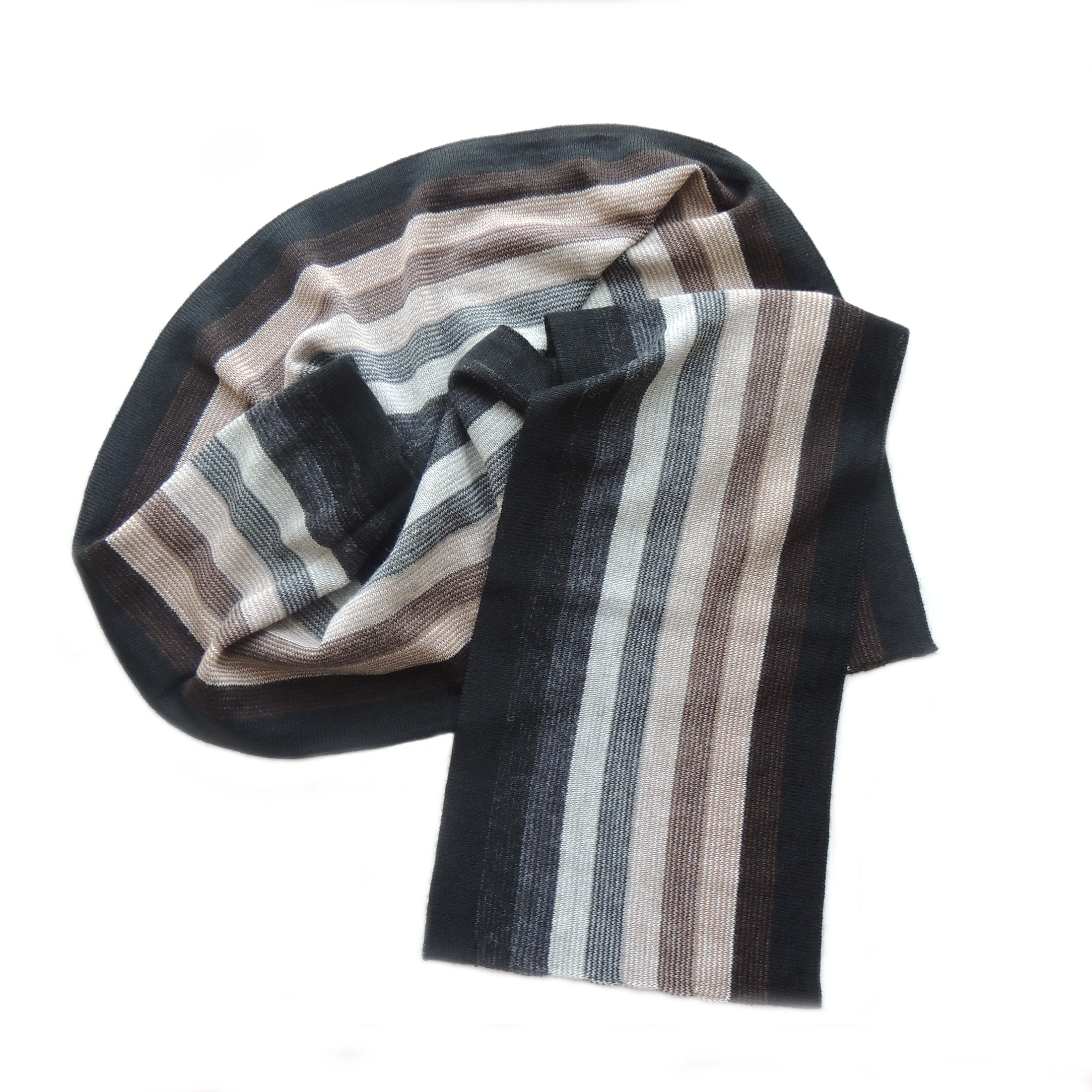 PFL knitwear Fine double knitted soft and warm scarf striped pattern black-gray-brown-beige unisex 100% baby alpaca.