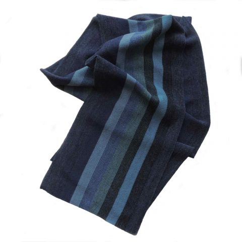 PFL knitwear Winter scarf fine double knitted 100 % baby alpaca with striped pattern shades of blue and turquoise unisex