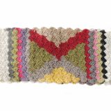 PFL knitwear women's hand knitted scarf creme with colorfull graphic pattern and pine cone fringes