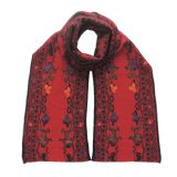 PFL knitwear Women's scarf jacquard knitted with hand embroidered details. Scarf red with black pattern alpaca blend scarf