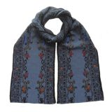 PFL knitwear Women's scarf jacquard knitted with hand embroidered details. Scarf blue with black pattern alpaca blend scarf
