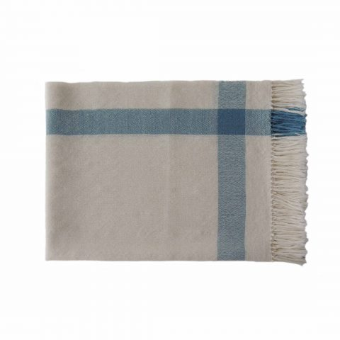 PFL knitwear Fine Handwoven Shawl / Stole, in soft baby alpaca with stripe pattern and fringes two color design creme white and light blue
