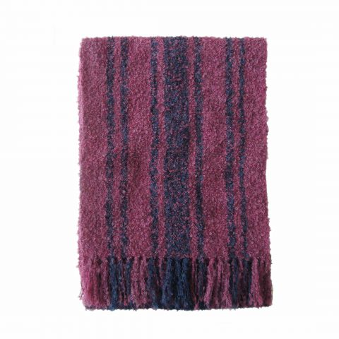 PFL knitwear Women's scarf made of very soft and warm alpaca boucle with fringes in a two color combination