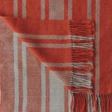 PFL knitwear Fine Handwoven scarf, in soft baby alpaca with stripe pattern and fringes two color design light taupe and deep orange