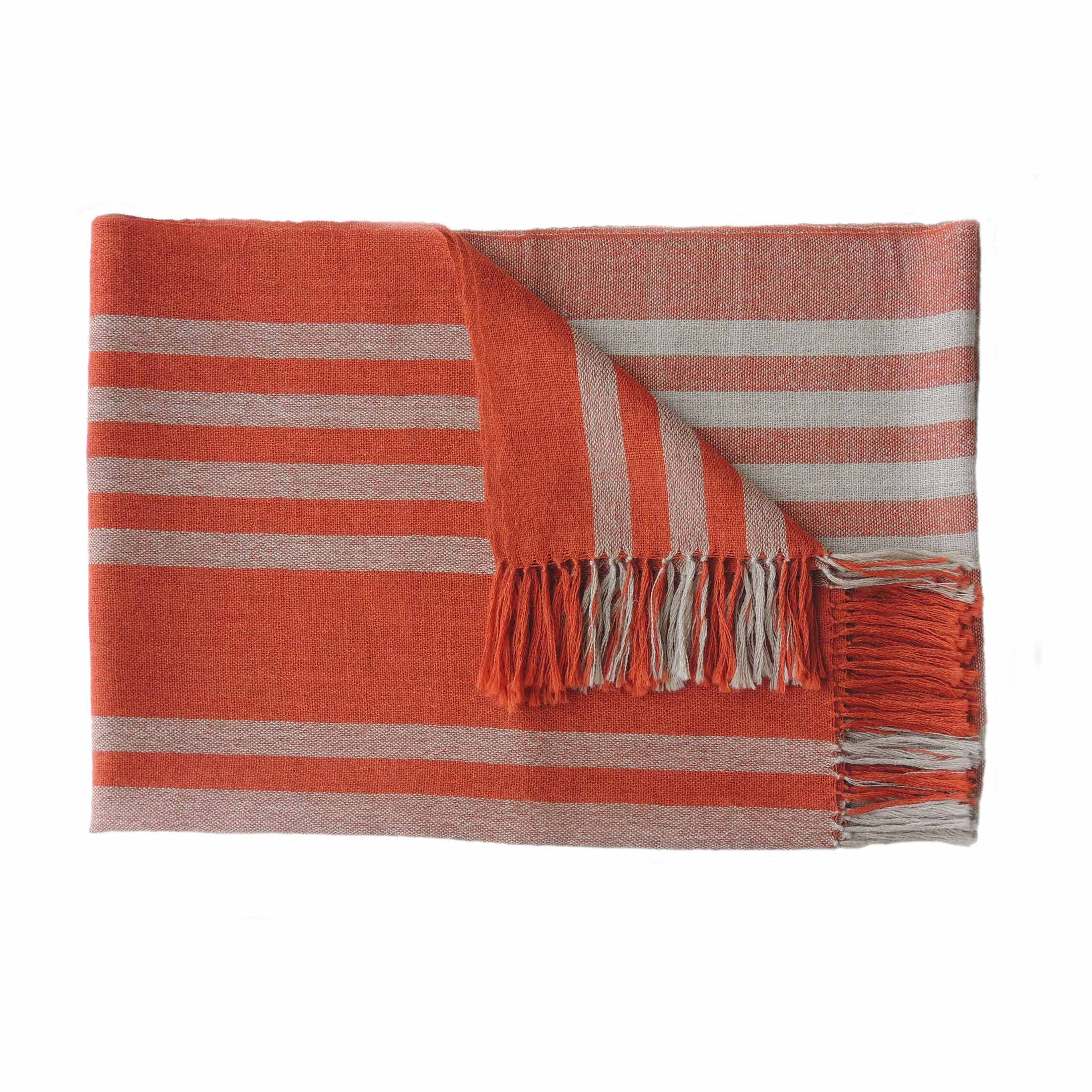 PFL knitwear Fine Handwoven Shawl / Stole, in soft baby alpaca with stripe pattern and fringes two color design light taupe and deep orange