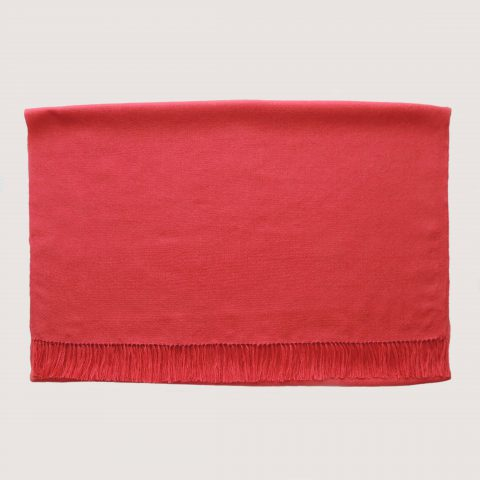 PFL Knitwear Fine handwoven Shawl / Stole, in soft baby alpaca - silk with fringes solid color fire brick red