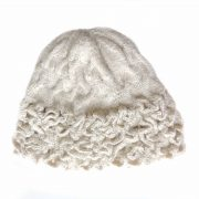 PFL knitwear Winter beanie / hat with labyrinth pattern 100% baby alpaca
