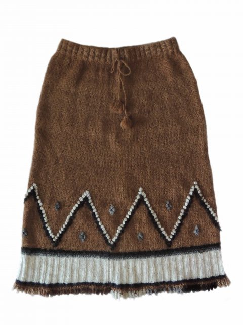 PFL knitwear Skirt handmade classic knitted rustic alpaca, alpaca skirt with etnic pattern.