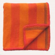 PopsPlaza Handwoven wool Peruvian blanket - rug, frazadas in beautiful colors red and orange each blanket is unique and a little different as the other in natural colors