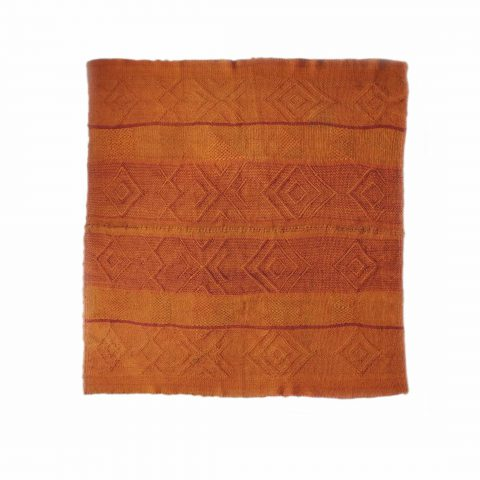 PopsPlaza Handwoven wool Peruvian blanket - rug, frazadas in beautiful color orange with red details each blanket is unique and a little different as the other in natural colors