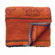 PopsPLaza.com Handwoven wool Peruvian blanket - rug, frazadas in beautiful color orange - red with flower details each blanket is unique and a little different as the other in natural colors