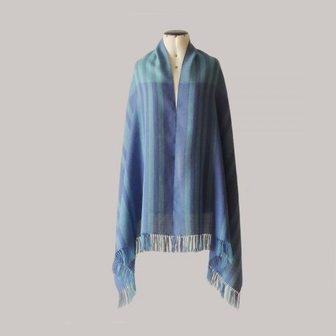 PFL knitwear Fine Handwoven Shawl / Stole, in soft baby alpaca with stripe pattern and fringes two color design blue shades