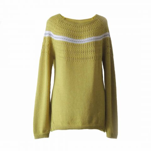 Women's sweater / pullover, knitted with boat neck, long sleeves in corn yellow yarn with gray stripe and creme white detail. with split on the side. Made of 100% soft and warm baby alpaca
