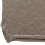 PFL knitwear Women's sweater / pullover, knitted with boat neck, long sleeves in a turqoise shade yarn with gray stripe and creme white detail. with split on the side. Made of 100% soft and warm baby alpaca