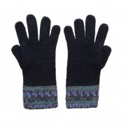 Winter gloves, 100% alpaca extra winter warm women's gloves, dark blue with etnic pattern