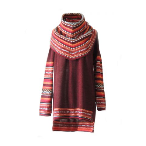Sweater 100% baby alpaca bordeaux red with big cowl collar with colorful graphic pattern