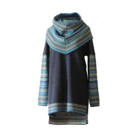 Sweater 100% baby alpaca jeans blue with big cowl collar with colorful graphic pattern