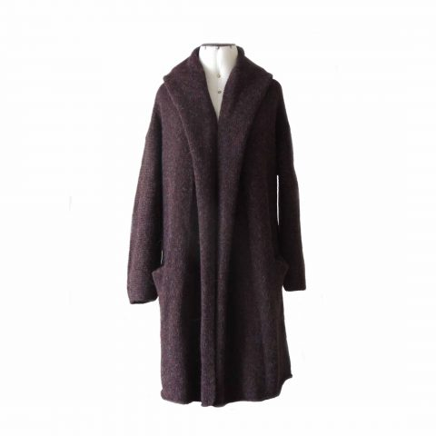 Capote Coat, cardigan hand knitted oversized hooded / non hooded color grapes