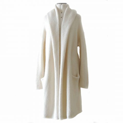 Capote Coat alpaca, cardigan hand knitted oversized hooded / non hooded, cream white