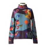 Women's sweater alpaca, intarsia knitted with colorful pattern, 100% alpaca handcrafted