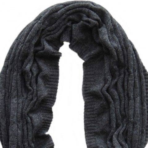 Circle scarf 100% baby alpaca unisex, cable pattern knitted scarf, dark gray